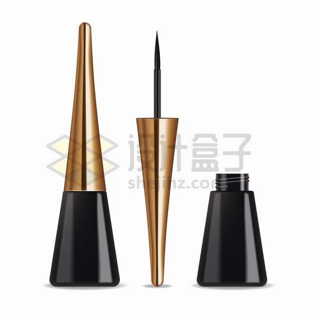 3D立体金色黑色眼线膏化妆品美妆品png图片素材