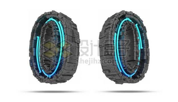 C4D风格蓝色灯光黑色科幻3D立体数字零0艺术字体349715psd/png图片素材