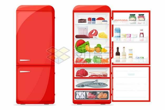 关闭和打开状态的红色卡通冰箱613458png矢量图片素材