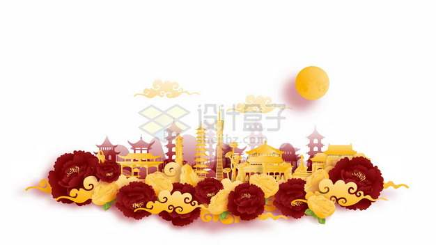彩色剪纸叠加中国风广州城市风景805007png矢量图片素材