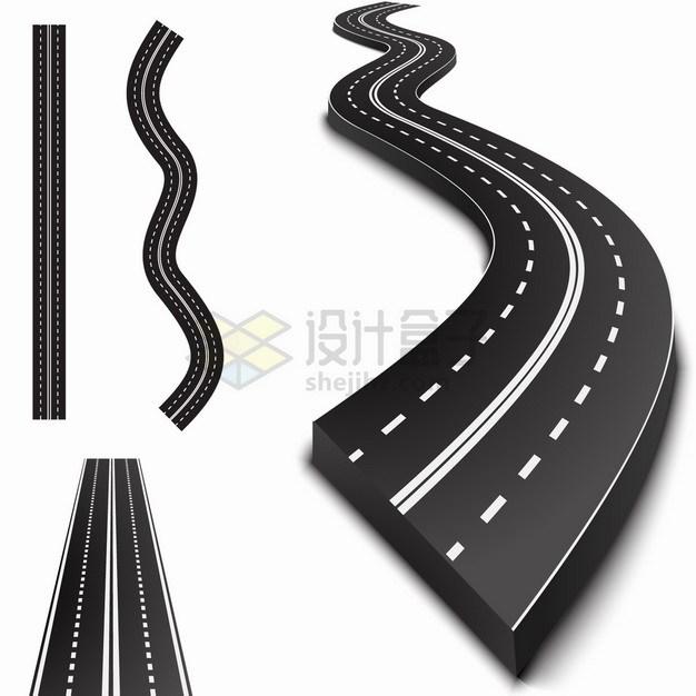 3D立体黑色高速公路马路道路png图片素材 交通运输-第1张