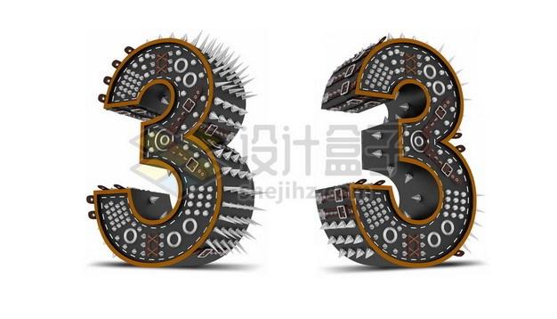 C4D风格尖刺黑色3D立体数字三3艺术字体765630psd/png图片素材 字体素材-第1张