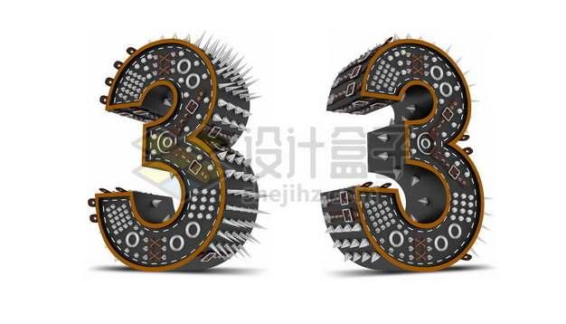 C4D风格尖刺黑色3D立体数字三3艺术字体765630psd/png图片素材