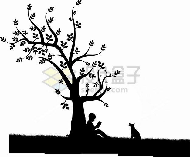 背靠在大树坐下的男孩剪影png图片素材 生物自然-第1张