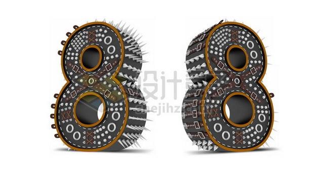 C4D风格尖刺黑色3D立体数字八8艺术字体464456psd/png图片素材 字体素材-第1张