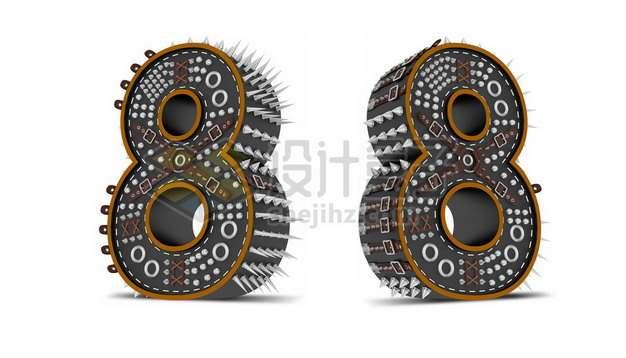 C4D风格尖刺黑色3D立体数字八8艺术字体464456psd/png图片素材