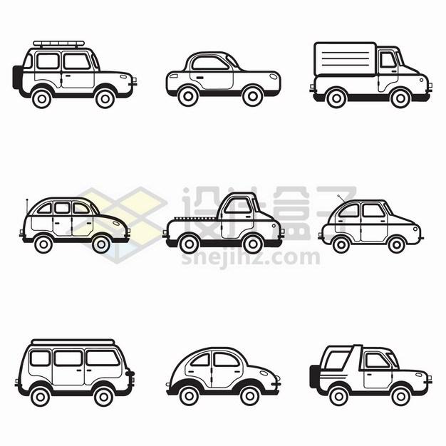 9款卡通黑色线条汽车侧视图png图片素材 交通运输-第1张
