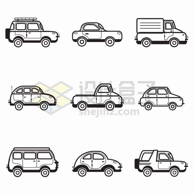 9款卡通黑色线条汽车侧视图png图片素材