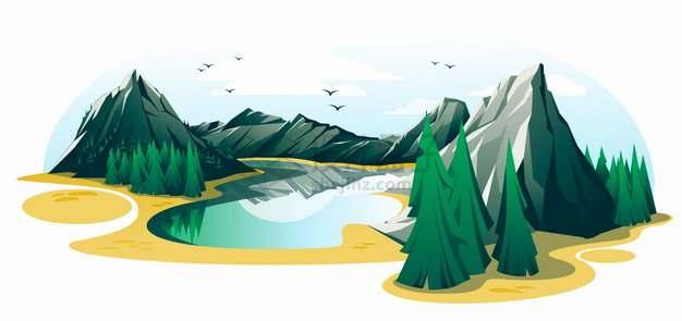 高山森林和湖泊卡通风景插画png图片素材