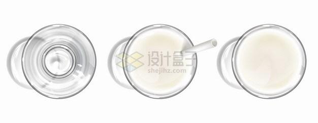 玻璃杯和杯中的牛奶俯视视角png图片素材 生活素材-第1张