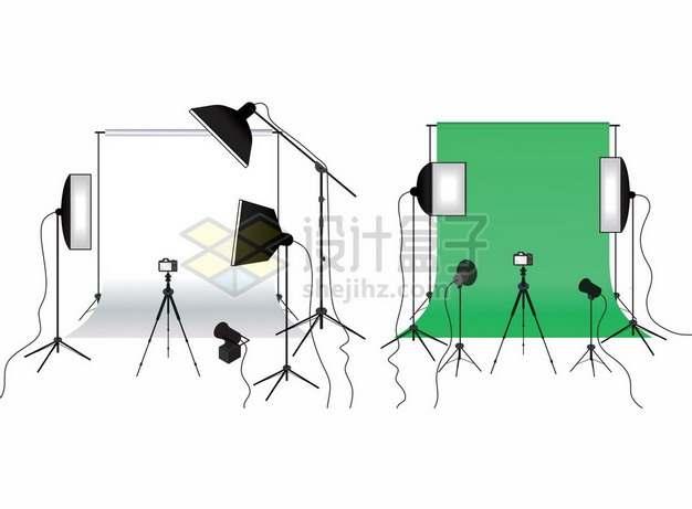 两种颜色的拍照背景布绿幕布和补光灯拍摄场景903740png矢量图片素材