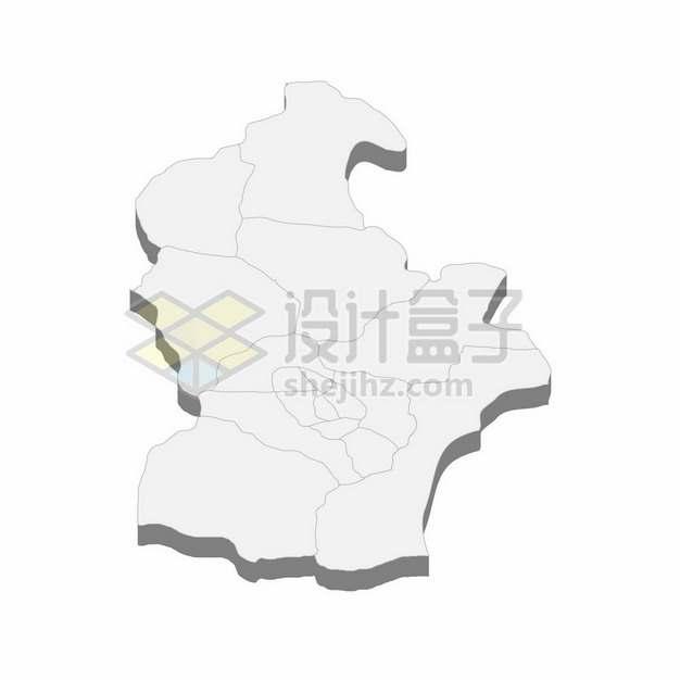 天津市地图3D立体阴影行政划分地图324365png矢量图片素材