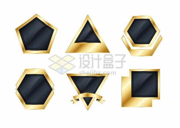 6款金色金属色边框的黑色按钮文本框信息框标题框727938png矢量图片素材