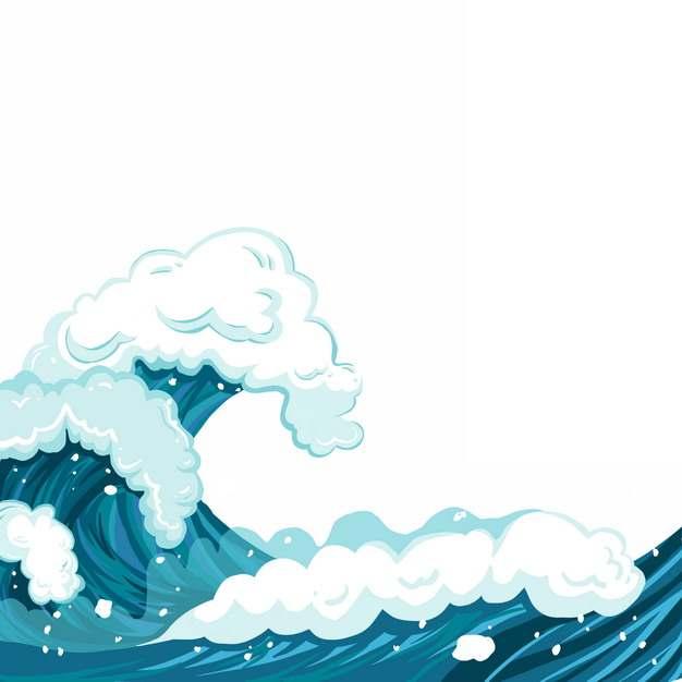 浪花海浪波浪传统插画240248png图片素材