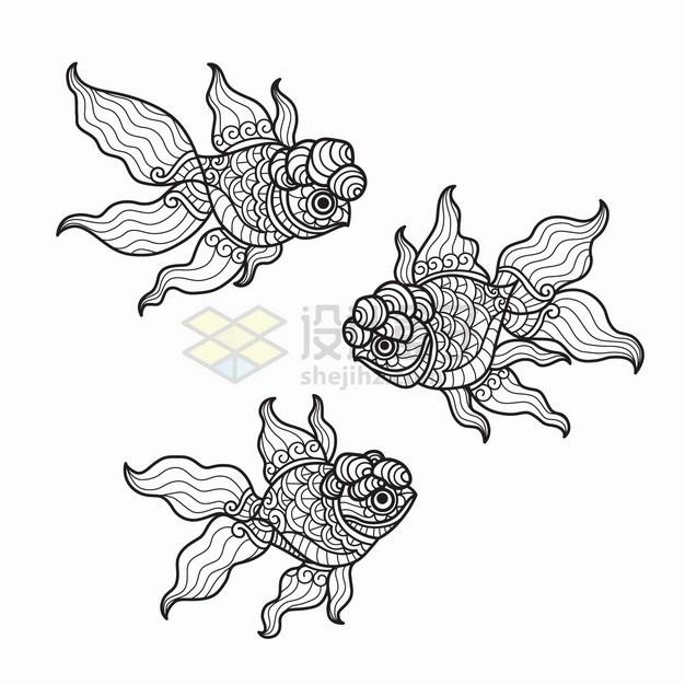 抽象图案的3条金鱼线条插画png图片素材 插画-第1张