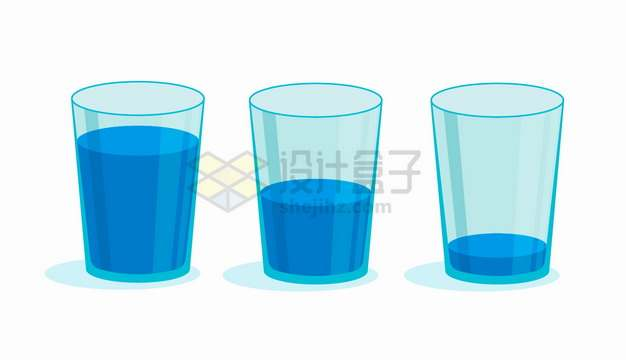 蓝色玻璃杯和饮用水要多喝水png图片素材