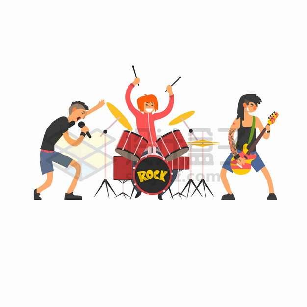 三个年轻人组成的乐队正在演奏音乐png图片素材