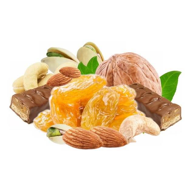 核桃杏仁开心果话梅榛子巧克力等干果美味零食816344png图片素材