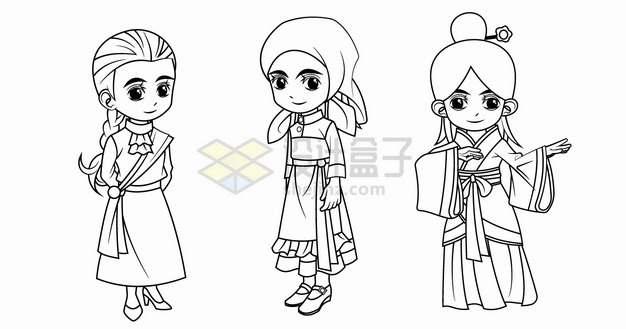 卡通女孩穿着苏格兰俄罗斯和中国传统服装手绘线条插画png图片素材