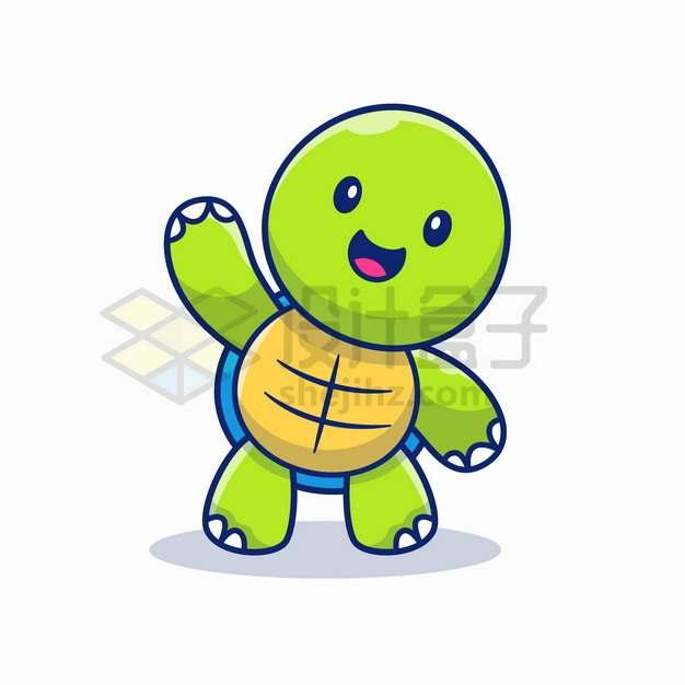MBE风格打招呼的卡通乌龟png图片素材