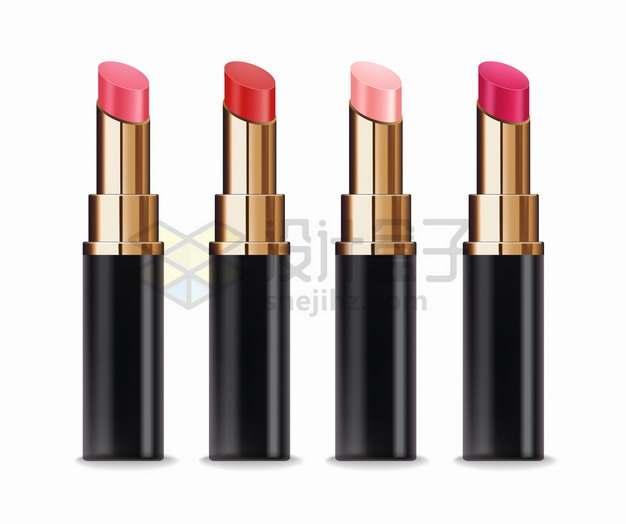 4种颜色的口红化妆品美妆品png图片素材