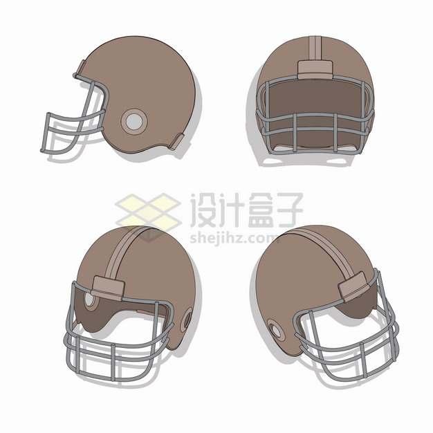 4个不同角度的橄榄球头盔png图片素材