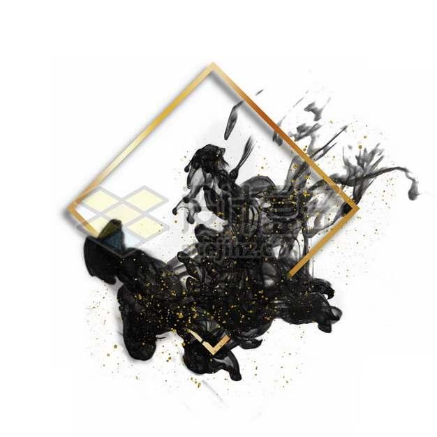 墨水烟雾水墨装饰的菱形金色边框文本框标题框信息框475698psd/png图片素材