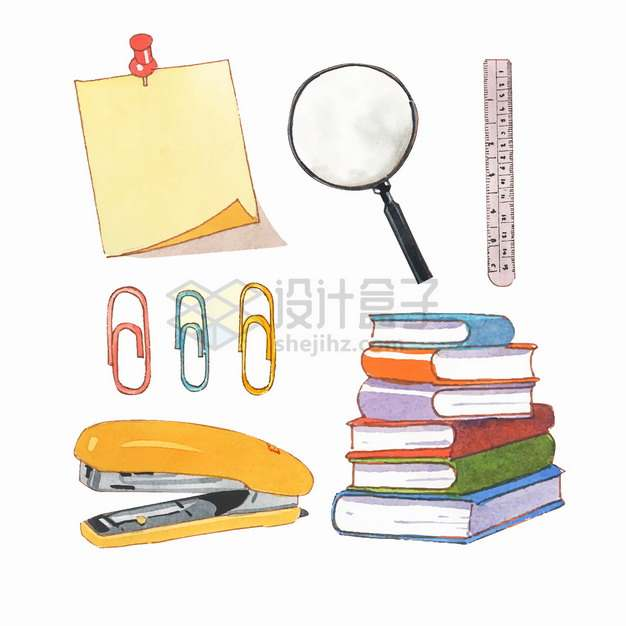 便签放大镜直尺曲别针订书机书本等学习用品水彩插画png图片素材