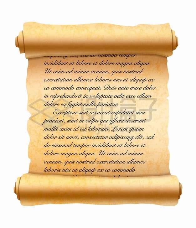 展开的复古羊皮纸草纸卷轴上的文字png图片素材