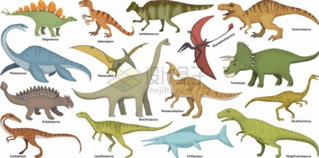 剑龙翼龙蛇颈龙梁龙霸王龙暴龙异特龙鱼龙三角龙等恐龙插画png图片素材