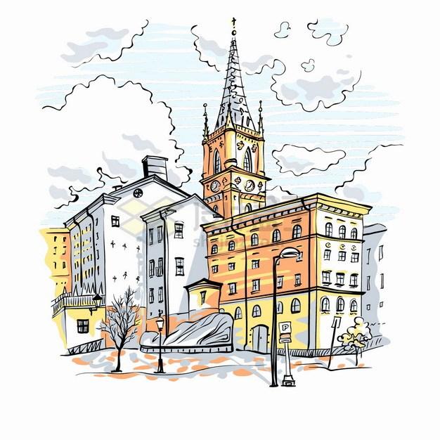 高高的塔尖建筑欧洲小镇城市风景水彩插画png图片素材 建筑装修-第1张