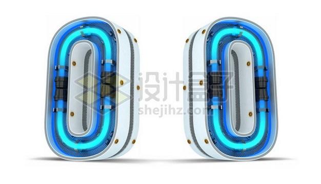 C4D风格蓝色霓虹灯管3D立体数字零0艺术字体221825psd/png图片素材 字体素材-第1张