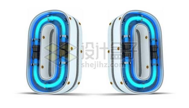 C4D风格蓝色霓虹灯管3D立体数字零0艺术字体221825psd/png图片素材