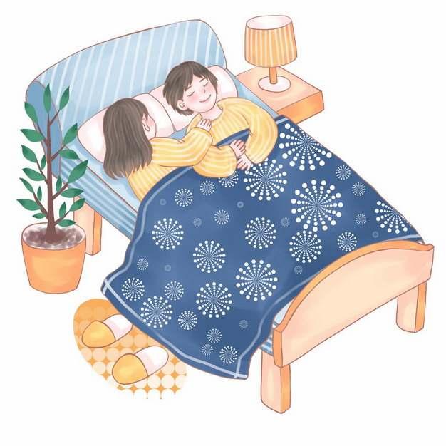 卡通双人床上睡觉的情侣996218png图片素材