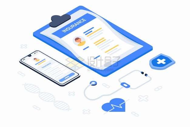 2.5D风格病历本手机和听诊器网上医院看病png图片素材