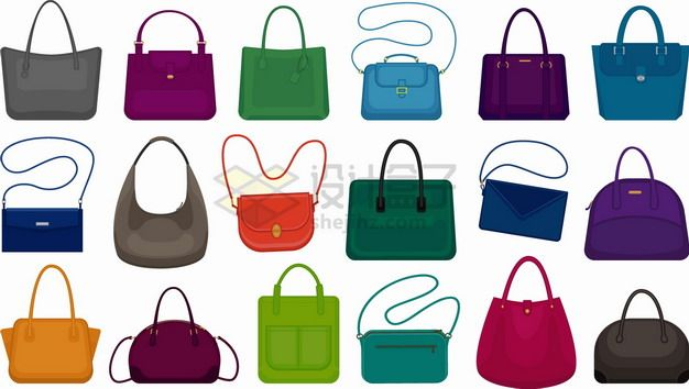 18款五颜六色不同造型的女式包包挎包单肩包手提包png图片素材