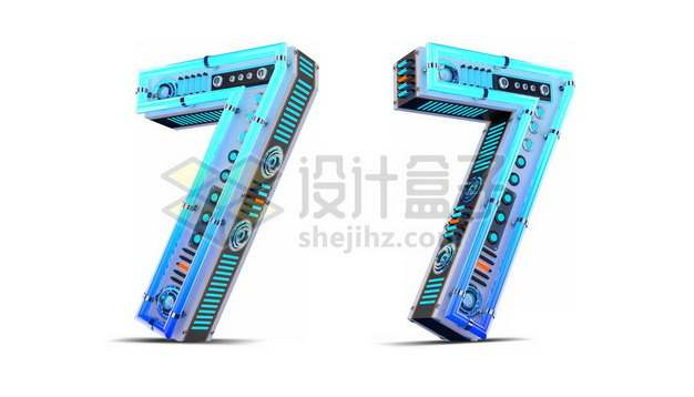 C4D风格蓝色机械3D立体数字七7艺术字体967581psd/png图片素材