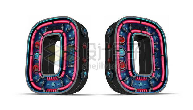 C4D风格红色霓虹灯管3D立体数字零0艺术字体207248psd/png图片素材