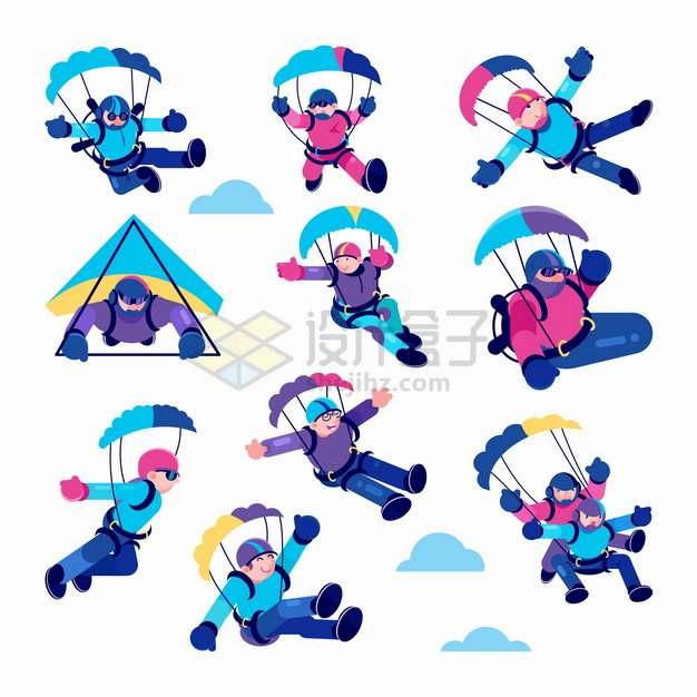 10款跳伞降落伞滑翔伞等极限运动卡通插画png图片素材