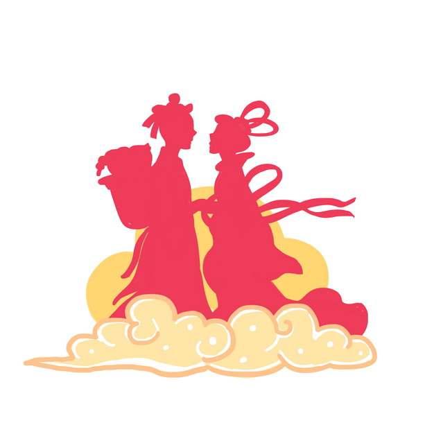 七夕节祥云图案和红色牛郎织女剪影839162png图片素材