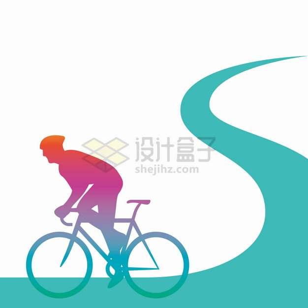在弯曲的道路上骑自行车的运动员彩色剪影png图片素材