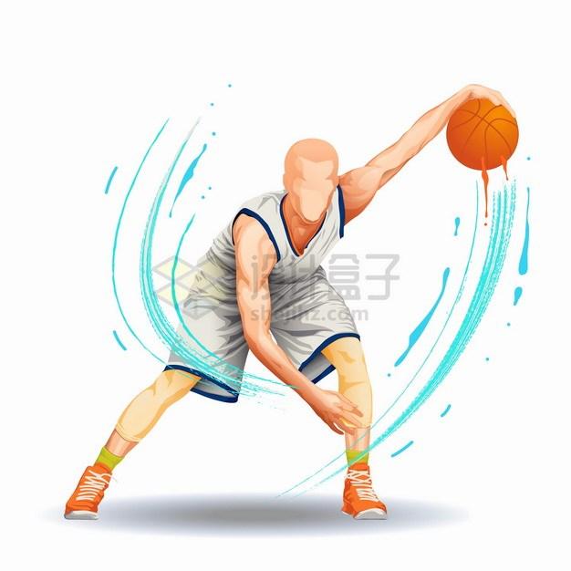 彩色气流篮球运动员运球png图片素材 人物素材-第1张