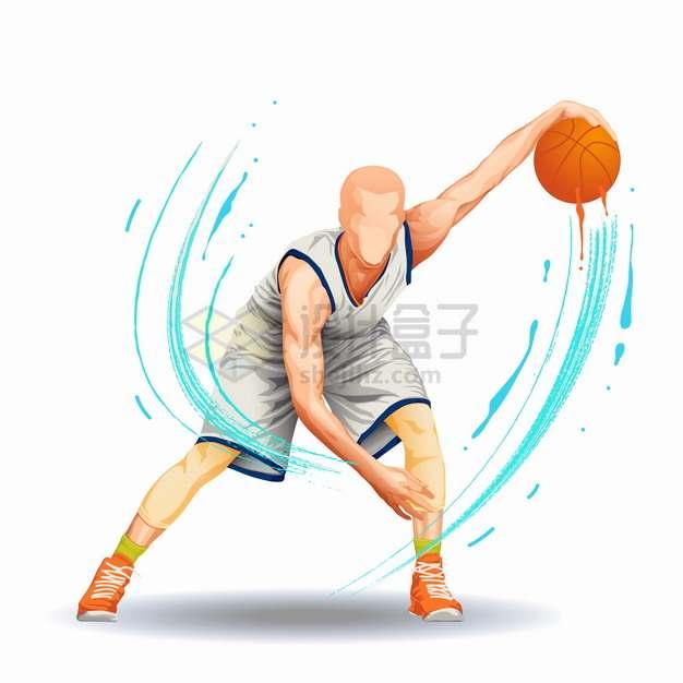 彩色气流篮球运动员运球png图片素材