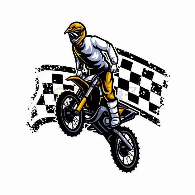 黑白色格子旗背景骑越野摩托车特技表演卡通漫画插画png图片素材
