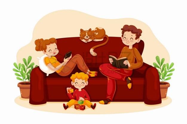 卡通爸爸妈妈和孩子一起坐在沙发上看书玩耍亲子关系png图片素材 人物素材-第1张