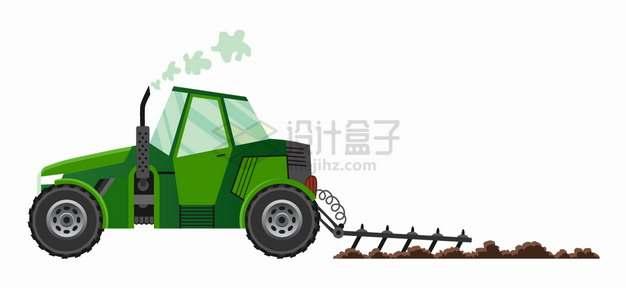 绿色农用拖拉机耕田犁地png图片素材