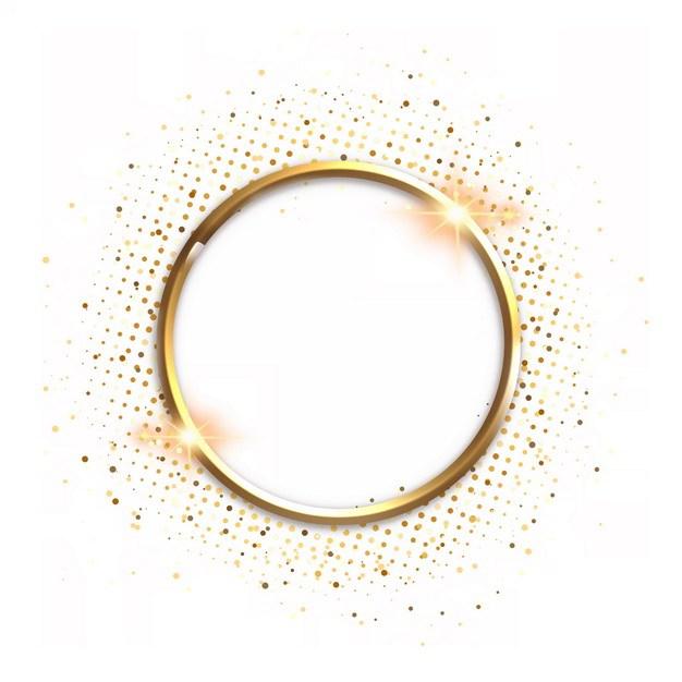 金色金属色圆环和发光装饰231313png图片素材 边框纹理-第1张