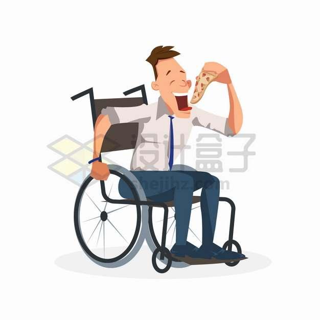 坐在轮椅上的年轻人正在吃披萨卡通漫画png图片素材