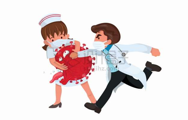 卡通医生和护士对红色新型冠状病毒拳打脚踢png图片素材
