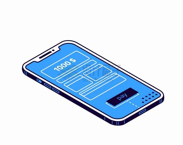蓝色2.5D风格手机上的电子账单和移动支付png图片素材 IT科技-第1张